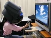 Niña con cabeza pantalla